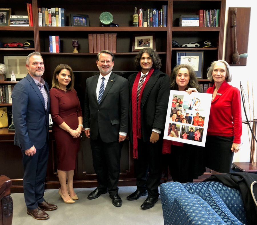 Relatives of the Abbas family with MADD National President Helen Witty on Capitol Hill.