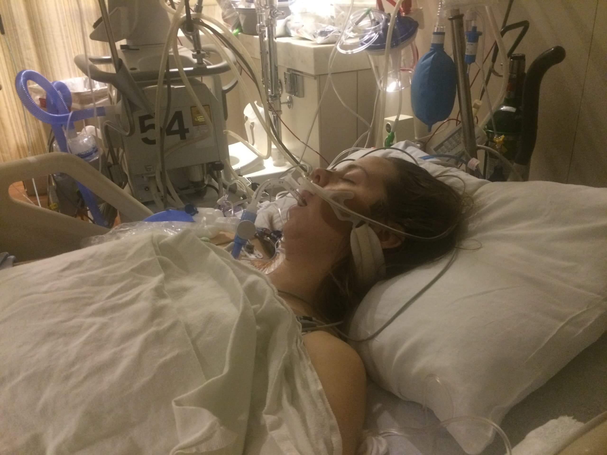Ten days after a drunk driver nearly killed Erin Rollins, she lay close to death again.